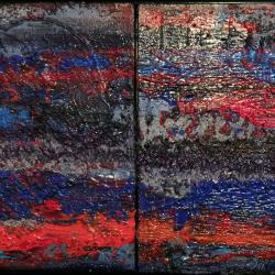 "Abstract landscape ""Thunder Storm"" Diptych"